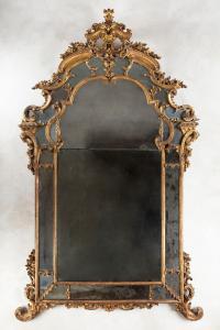 Importante antica specchiera in legno dorato e specchio al mercurio (Piemonte, Luigi XV)  (220cm x 135cm)