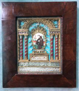Reliquary picture with different saints and figure of Saint painted on ivory. France