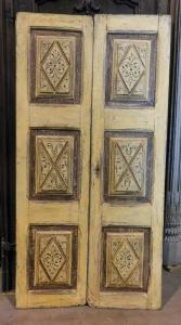 ptl511 - porta dipinta a due ante, epoca '700, cm l 98 x h 196