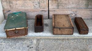 Collection of antique wedding boxes, antique sewing boxes