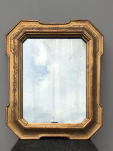 Cornice - specchiera a 'cabaret' in legno intagliato e foglia oro.Periodo Luigi Filippo.