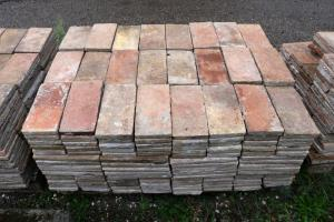 Antique rectangular bricks in terracotta, 29x14.5 cm. Epoch 1800