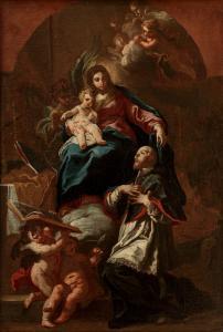 Sebastiano Conca (Gaeta 1680 - Neapel 1764) Die Madonna und das Kind erscheinen San Francesco di Sales
