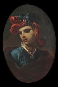 Giacomo Bolognini  (Bologna, 1664 - 1734)   Ritratto di giovane con cappello piumato