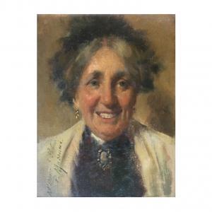 Pompeo Massani (1850-1920), óleo sobre lienzo que representa el retrato de una anciana