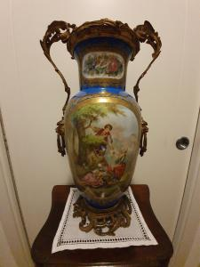 SEVRES PORCELAIN VASE AND GOLDEN BRONZE