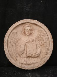Medaglione in Marmo Botticino - San Matteo con parole latine - Diametro 37 cm - Venezia - 18° secolo