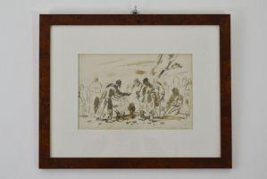 СЧАСТЛИВАЯ КАРЕНА, коричневый акварельный рисунок на бумаге