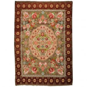 Moldavian Vintage Floral Kilim Rug with Pastel Roses after Aubusson