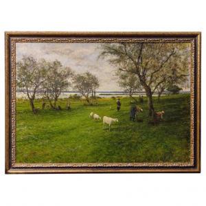 Pintura de paisagem italiana com rebanho