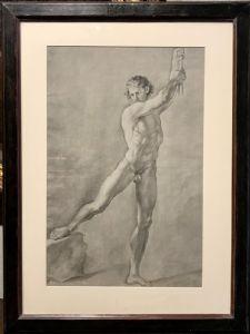 Coppia di disegni accademici - Studi di nudi maschili