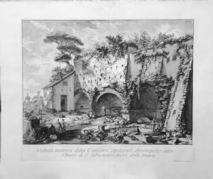 Due acqueforti - Vedute di sepolcri romani di G.B.Piranesi