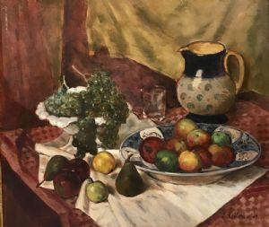 Natura Morta con Frutta  e brocca in ceramica