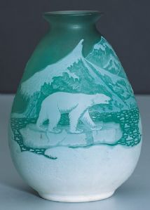 DOUBLE GLASS VASE, GALLE ', 1930 CA
