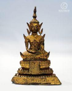 ANTIQUE BUDDHA, BURMA, GILDED BRONZE, 19cm