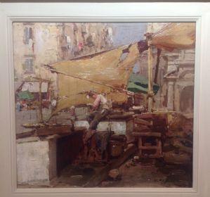 Gustavo Pisani, Naples 1877 - 1948, market stall in Naples, oil on canvas cm. 25x26