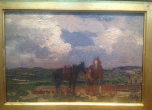 Beppe Ciardi, Venezia 1875 - Quinto TV 1932 I due cavalli, olio su tavola cm. 21x31