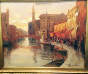 Attilio Achille Bozzato, Chioggia 1886 - 1954 Canale Vena a Chioggia, olio su tela cm. 40x50