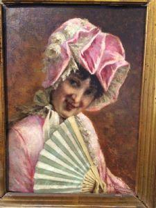Roberto Fontana, Milano 1844 - 1907, Fanciulla con ventaglio in abito rosa, olio su tela cm.33x25 in cornice d'epoca
