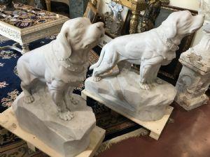 Coppia di cani in marmo 110x40x120h