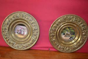 Elegante coppia di piatti con miniature Napoleone III fine