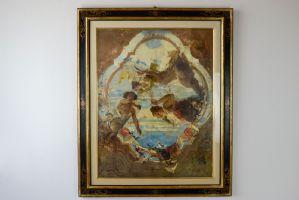Pintura a óleo antiga sobre tela de Mosè Bianchi representando um modelo de afresco