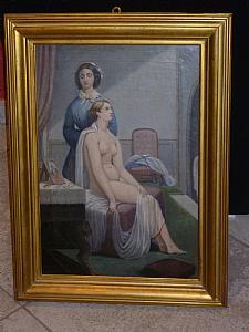 Mujer desnuda con la limpieza