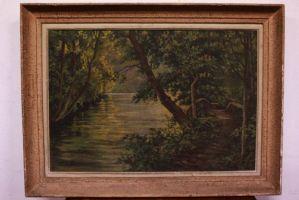 Dipinto quadro olio su tela paesaggio landscape oil canvas con cornice