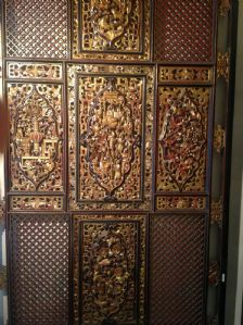 PANEL WOODEN CARVED PAINTED GOLDEN CHINA Qianlong period (1736-1795)