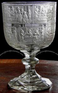 Anton Simm or perhaps Dominik Biemann, Jablonec Nad Nisou (Gablonz) or Franzenbad 1820-30.Extraordinary chalice made for a Jewish clientele of high rank.Celebration of the Seder (Passover meal) in the ritual of Pesach.(*)