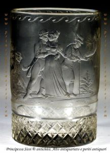 North Bohemia, Giant Mountains, in 1810 - 15. Period empire.Extremely rare or unique glass blown ground and signed in original by Franz Pohl