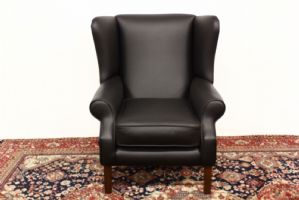 Bergere armchair in black leather original english english old original