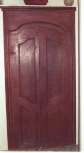 wall-mounted wardrobe with tempera painted frame