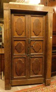 ptcr423 kleine Tür mit Kastanienrahmen, mis. Licht 101 x 207 cm