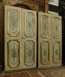 ptl195 пара двойных лакированных дверей, 18 век, изм. длина 114 x 215 см каждый