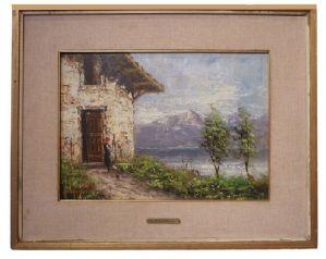 Quadro  paesaggio con figure su sfondo di montagna