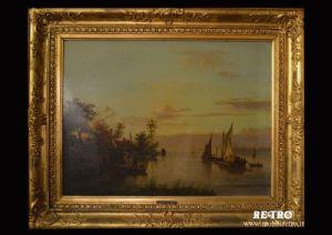 Paesaggio fluviale con barche
