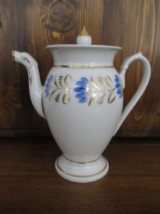 Pure gold empire teapot with 800 vintage blue floral decorations - perfect!