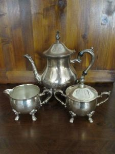 Teapot set, sugar bowl, silvered jug - silver plated - sheffield - '900