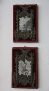 Pair of frames in embossed sheet - photo frame - with naval prints - beautiful!