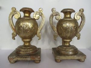 Pair of golden gold-plated metal acetate holders - early 19th century - authentic !!!