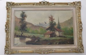 Picture - oil painting on canvas mountain landscape - early 900 - signed Martini