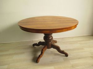 Round table-round extendable walnut - veneered period 900