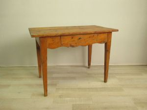 Frosted table in fir with drawer - desk - pine desk - end of 800