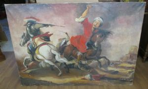 Large painting oil painting on canvas battle on horseback - end 800 - 140 x 99!
