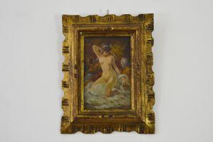 """TEMISTOCLE LAMESI, pintura a óleo no painel que descreve uma mulher nua e intitulada """"depois do banho"""""""