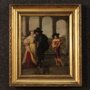 Ancient French painted galatean scene with 19th-century player