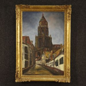 Painting signed View of cathedral