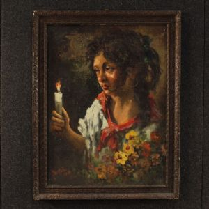 Italian signed and dated painting portrait of young gipsy