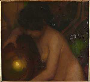 Alfredo Protti. Naked woman with light. Cm h.46x51.